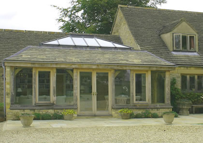 Orangery in Green Oak on Listed house in Cotswolds