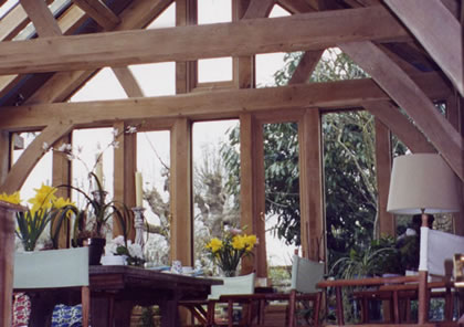 Green Oak roof in Cotswolds garden room