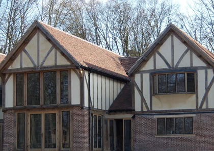 Timber doors and windows on new build house near Hertford, Hertfordshire