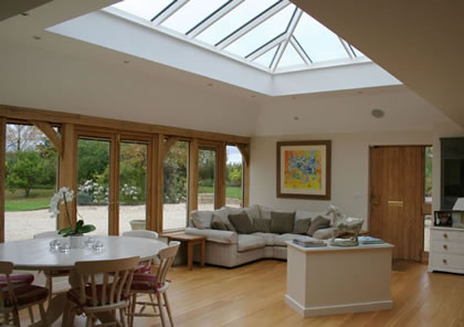 Roof Lantern in Green Oak on Heritage Cotswold house