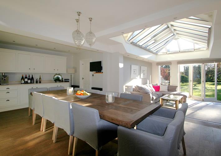 Kitchen Room Adjoining Living Space In Orangery Beaconsfield Bucks