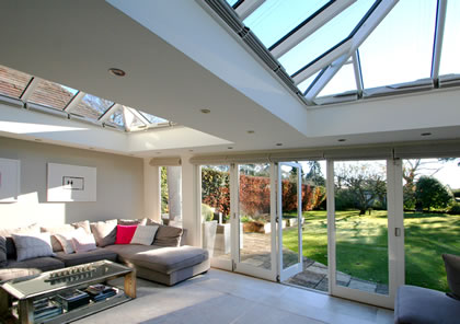Living space with Garden views from Orangery in Bucks